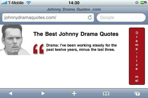 Johnnydramaquotes.com on iPhone in landscape mode.