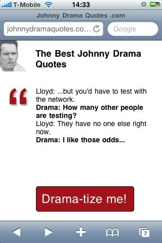 Johnnydramaquotes.com on iPhone in portrait mode.
