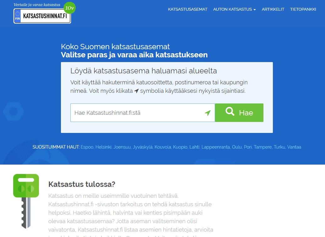 Screenshot of Katsastushinnat.fi