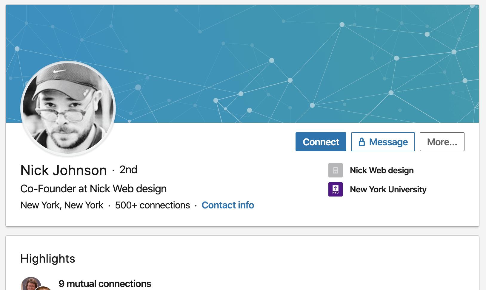 Screenshot of a bot profile on LinkedIn.